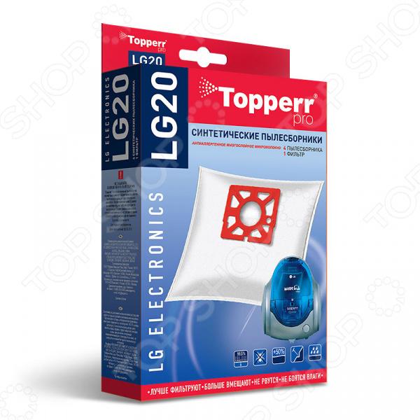 Мешки для пыли Topperr LG 20Аксессуары для пылесосов<br>Мешки для пыли Topperr LG 20 незаменимые аксессуары для традиционных пылесосов с мешком для сбора пыли. Они изготовлены из синтетического материала. Плотный нетканый фильтрующий материал отличается особой прочностью, устойчив к воздействию влаги, хорошо задерживает частицы пыли вплоть до 99,5 . Эти качества обеспечивают устройству хорошую мощность всасывания на протяжении всего срока службы пылесборника. Кроме того, обеспечивается чистота внутренних поверхностей пылесоса, а также сводится к минимуму вероятность попадания пыли и аллергенных микроорганизмов в воздух. Мешки рассчитаны на одноразовое применение. В комплекте 4 пылесборника и 1 фильтр.<br>
