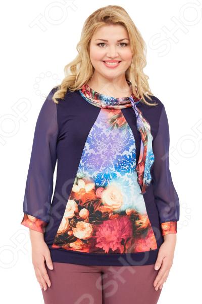 Блуза Матекс «Зарина». Цвет: винныйБлузы. Рубашки<br>Блуза Матекс Зарина незаменимая вещь в гардеробе модницы. Подойдет для женщин практически любой комплекции, ведь особенности кроя помогают скрыть недостатки и подчеркнуть достоинства фигуры. Эта блуза полуприталенного силуэта отлично подойдет для повседневного использования.  Стильная блуза, сочетающая в себе комбинацию из нескольких фактур ткани.  Яркий воротник из ткани масло можно завязать бантом.  Шифоновые рукава дополнены манжетами из цветного материала.  Спереди предусмотрена декоративная вставка, спинка однотонная.  На фотографии блуза представлена в сочетании с брюками Миледи . Блузка выполнена из текстильного полотна, которое отлично держит форму, не теряет цвет после стирки, не скатывается 95 вискоза, 5 полиэстер, вставки: 100 полиэстер . Полиэстер предохраняет вещь от измятия и быстро высыхает после стирки.<br>