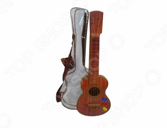 Музыкальный инструмент игрушечный Shantou Gepai «Гитара акустическая»Игрушечные музыкальные инструменты<br>Музыкальный инструмент игрушечный Shantou Gepai Гитара акустическая игрушечная акустическая гитара, выполненная из прочного и безопасного для ребенка материала. Оснащена 4-мя струнами имеет и дополнена световым и звуковым оформлением. С такой гитарой ребенок сможет развивать мелкую моторику рук, творческие способности и слух. В набор также входит прозрачный чехол, с ручкой для удобного хранения и транспортировки инструмента. Такой музыкальный инструмент станет прекрасным подарком для ребенка и подарит ему хорошее настроение во время игры.<br>
