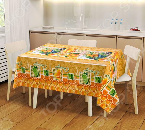 Набор: скатерть и 2 полотенца ТексДизайн «Мандарин» 1719359Кухонные полотенца. Прихватки<br>Кухня и столовая пожалуй самые важные комнаты в доме, ведь они становятся местом встреч всей семьи. Уют в этих комнатах зависит не только от правильно подобранного интерьера, мебели или элементов декора. Особую роль в создании комфортной для всей семьи атмосферы играет домашний текстиль. Внимание нужно уделять не только гардинам, шторам и коврам, но так же и скатертям и салфеткам, которые способны мгновенно преобразить вашу комнату, привнести нотку торжественности и непревзойденного лоска. Набор: скатерть и 2 полотенца ТексДизайн Мандарин 1719359 станет потрясающим украшением вашего праздничного или обеденного стола. Скатерть размером 150х145 см и полотенца размером 47х70 см выполнены из качественной и прочной хлопковой ткани. Благодаря использованию натуральных материалов, набор отличается своей практичностью и простотой в уходе. Для вашего удобства предусмотрена водоотталкивающая пропитка, которая не позволяет ткани впитывать лишнюю влагу. Яркий и красочный дизайн придает набору особый стиль и изысканность. С ним праздничный стол будет выглядеть ещё более роскошным и богатым.<br>