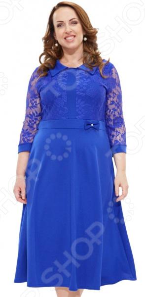 Платье Матекс «Барбара». Цвет: васильковыйПовседневные платья<br>Платье Матекс Барбара это легкое платье, которое поможет вам создавать невероятные образы, всегда оставаясь женственной и утонченной. Благодаря полуприталенному силуэту оно скроет недостатки фигуры и подчеркнет достоинства. В этом платье вы будете чувствовать себя блистательно как на работе, так и на вечерней прогулке по городу. Универсальная длина ниже колена делает платье одеждой на все случаи жизни, а удобные рукава 3 4 скрывают полноту рук, ткань на рукавах не тянется. Круглый вырез горловины изящно подчеркивает грудь и расставляет акценты формируя женственный силуэт. Верх изделия выполнен с отделкой кружева. Имитация пояса украшена бантиком с бусиной. Платье изготовлено из качественного трикотажа 65 вискоза 30 полиэстер, 5 лайкра вставки: 100 полиэстер , благодаря чему материал не скатывается и не линяет после стирки. Даже после длительных стирок и использования платье будет выглядеть прекрасно.<br>