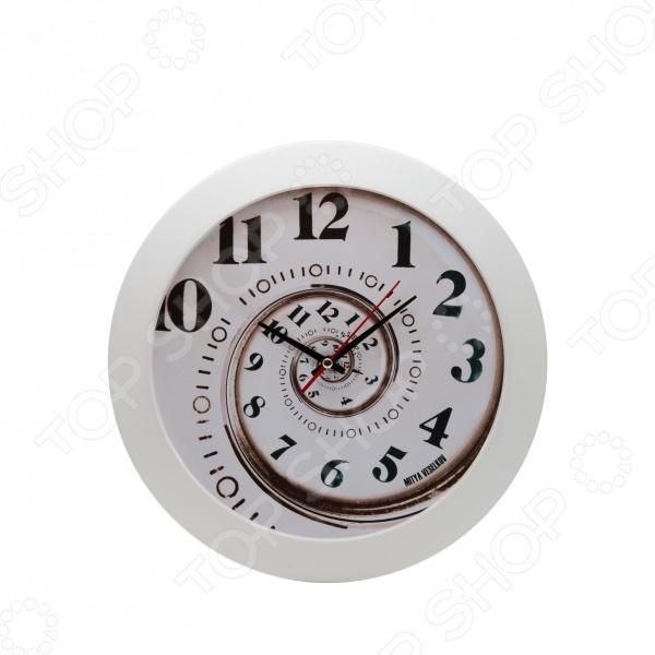 Часы настенные Mitya Veselkov «Спираль времени»Часы настенные<br>Настенные часы это элегантный и неотъемлемый элемент дизайна любого помещения. Правильно подобранные часы позволяют внести в общий интерьерный ансамбль некоторую изюминку и легкий штрих индивидуальности, собственного стиля. Поэтому к подбору такого значимого и функционального украшения надо подходить с умом. Настенные часы от отечественного бренда Mitya Veselkov станут настоящей находкой для тех, кто следит за трендами современной моды, любит постоянные перемены и предпочитает новаторские решения взамен обыденной классике. Часы настенные Mitya Veselkov Спираль времени отлично впишутся в интерьер вашей гостиной, спальни, кухни или детской комнаты. Корпус кварцевых часов выполнен из качественного пластика, который гарантирует не только их легкость, но и практичность, легкий монтаж и уход. Циферблат данной модели отличается оригинальным дизайном, который придется по душе поклонникам современного искусства. Создайте неповторимую атмосферу уюта и комфорта с необычными настенными часами Mitya Veselkov Спираль времени !<br>