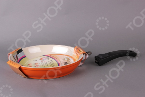 Сковорода со съемной ручкой GreenTop Xpride. Цвет: оранжевый щетка массажная для тела riffi со съемной ручкой цвет молочный