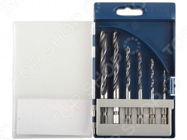 Набор сверл по дереву Зубр «Профи» 29423-H6Наборы сверл<br>Набор сверл по дереву Зубр Профи 29423-H6 полезный и функциональный набор, который используется при осуществлении строительных и ремонтных работ любых масштабов. Данный вид сверл используется с электродрелями и шуроповертами, и предназначен для сверления отверстий вдоль и поперек волокон в древесине различных пород дерева. Изделия также можно использоваться во время работы с клеевыми и фанерными щитами. Набор изготовлен из высокоуглеродистой инструментальной стали, которая характеризуется своей износостойкостью и долговечностью. Особенности набора сверл по дереву Зубр Профи 29423-H6:  быстрый заход в материла и эффективный отвод стружки обеспечивает особая форма спирали и заточки;  хвостовик шестигранной формы обеспечивает надежную фиксацию сверла в патроне, исключая при этом проворачивание насадки;  М-образная заточка;  специальная проточка хвостовика размером 1 4 делает возможно использование сверла с быстросъемными адаптерами. В набор входят сверла с различными размерами: 3 мм, 4 мм, 5 мм, 6 мм, 8 мм, 10 мм. Пластиковая кассета имеет деления специально предназначенные для каждого инструмента.<br>