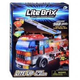 фото Конструктор игровой со световыми эффектами Lite Brix «Пожарная станция с машиной»