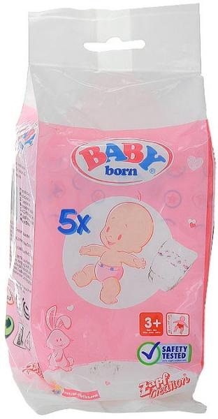 Памперсы для кукол Zapf Creation - необходимый аксессуар для малышек BABY Born. В комплект входит 5 штук памперсов, которые помогут маленьким мамам ухаживать за своими куклами.