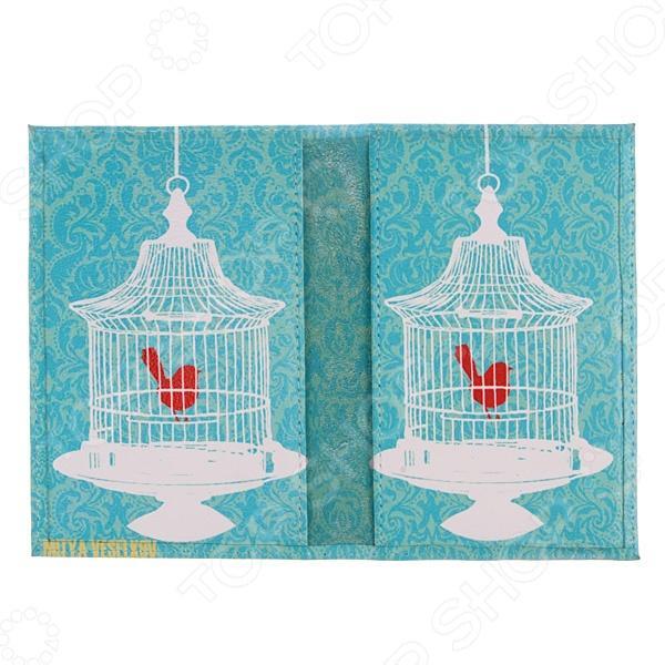 Обложка для паспорта двухсторонняя Mitya Veselkov «Птичка в клетке» MM-53