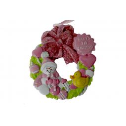 фото Елочное украшение Crystal Deco «Венок для малыша». Цвет: розовый
