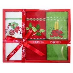 фото Комплект из 3-х вафельных полотенец подарочный BONITA «Веточка, игрушки, свечи»