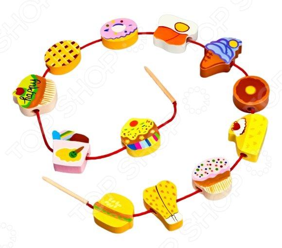 Игра развивающая для малыша Mapacha «Шнуровка - бусы. Продукты»