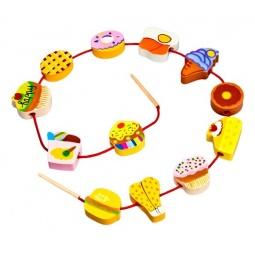 фото Игра развивающая для малыша Mapacha «Шнуровка - бусы. Продукты»