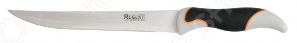 Нож Regent разделочный TorreНожи<br>Нож Regent разделочный Torre качественное изделие, которое пригодится на любой кухне. Полотно ножа изготовлено из нержавеющей стали, благодаря чему оно длительное время будет сохранять необходимую остроту и изящный глянцевый блеск. Сталь идеально подходит для взаимодействия с продуктами питания, так как она устойчива к коррозии, не выделяет вредных веществ и не придает пище металлический привкус. Эргономичная рукоятка ножа выполнена из пластика и имеет слегка изогнутую форму, делающую хват более надежным и уверенным. Рукоятка приятна на ощупь, не скользит в руках и легко очищается. Нож идеально подойдет для разделывания мяса, птицы или рыбы. Благодаря изящному лаконичному дизайну изделие будет замечательно смотреться в интерьере любой кухни, внесет в него новизну и особый уют, станет помощником в создании самых разнообразных кулинарных шедевров. Нож можно мыть в посудомоечной машине.<br>