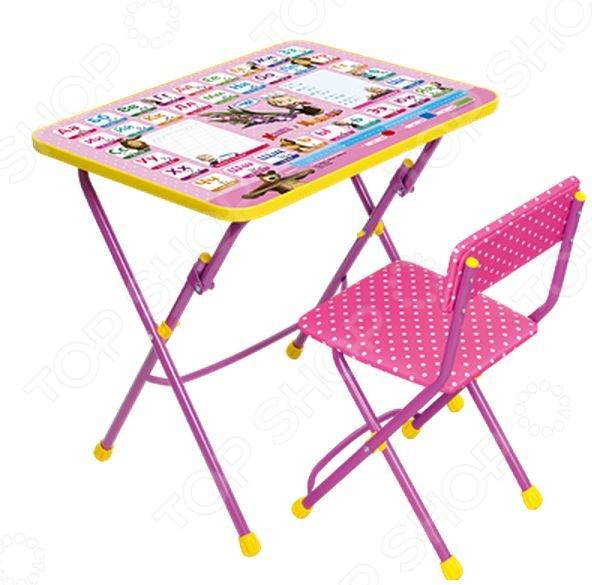 Набор мебели детский Ника «Умничка»Парты. Столы. Стулья. Табуреты детские<br>Набор мебели детский Ника Умничка станет отличным приобретением для вашего малыша и прекрасно впишется в интерьер детской комнаты. В комплект входит столик и стульчик с мягким сидением. Мебель складная, снабжена подставками для ног и пластиковыми наконечниками, защищающими напольные покрытия от трещин и царапин. На столешницу нанесен русский алфавит, пропись, арифметические примеры, линейка и яркий рисунок с изображением героев мультфильма Маша и Медведь . Набор многофункционален, подходит для различных игр, собирания пазлов, рисования, лепки из пластилина и т.д. Предназначено для детей в возрасте от 3-х лет.<br>