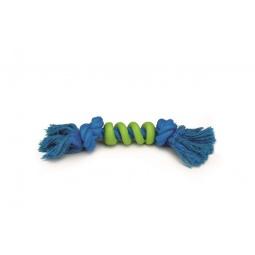 фото Игрушка для собак Beeztees «Канат с 2 узлами и спиралью». Цвет: зеленый, синий. Длина: 27 см
