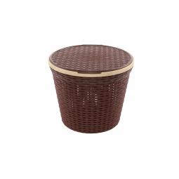 Купить Корзина для белья круглая с крышкой Violet 2512 «Ротанг»
