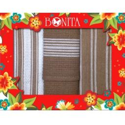 фото Комплект из 3-х вафельных полотенец подарочный BONITA «Полосатый»