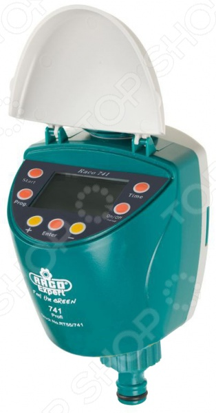Таймер для подачи воды Raco 4275-55 738 z01 - электронный таймер, предназначенный для автоматического контроля за поливом, снижая объем потребляемой воды. Таймер позволяет задать необходимые часы включения, до 12 раз в день. Периодичность полива продлевается от 1 до 120 минут, с возможностью выбрать дни недели в которые будет осуществляться полив. Для аккуратного хранения таймер с блоком управления можно отключить и поставить в надежное место. Таймер можно подключить к крану с внешней резьбой 3 4 39; 39; или 1 39; 39;, с помощью адаптера, который входит в комплект и имеет разъем 3 4 39; 39;. Используется прибор при давление 1,5-10 атмосфер, в противном случае необходимо дополнительно приобрести редуктор давления. Температуры воды должна быть от 4 до 60 градусов. Горячая или грязная вода может привести прибор к поломке. Питание осуществляется от 2-х батареек типа АА, которые необходимо приобрести отдельно. Прибор не используется в промышленных целях.