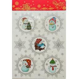 фото Пленка декоративная для окна Феникс-Презент 38609 «Веселые снеговички»