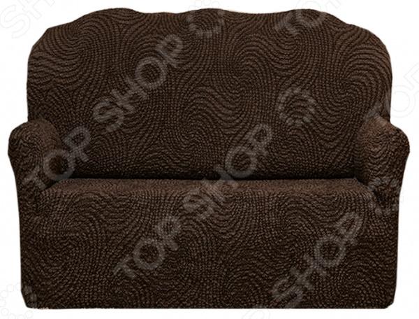 Натяжной чехол на двухместный диван «Этна. Корсика»Чехлы на диваны<br>Натяжной чехол на двухместный диван Этна. Корсика подарит вторую жизнь старому дивану. Вам надоело однообразие, хотите обновить приевшийся интерьер Совсем не обязательно для этого покупать новую мебель, ведь сегодня можно легко подобрать красивый чехол из богатого ассортимента. При этом изделие выполняет не только эстетическую функцию, но и защитную: от случайных пятен, царапин, протирания и шерсти животных.  Однако чехол окажется полезен и в другой ситуации. Допустим, вы сделали ремонт в комнате, и старый диван уже не вписывается по стилю в интерьер помещения. Не беда! Просто подберите подходящий чехол и готово. Он без особого труда надевается на диван практически любого типа и также легко снимается. Изделие сшито из приятной на ощупь ткани, обладающей следующими свойствами:  прочность и износостойкость;  хорошая растяжимость благодаря эластичным нитям в составе ткани;  устойчивость к деформации даже после стирки ;  долго сохраняет свой оригинальный цвет.  Материал не требует особого ухода. Допускается ручная или машинная стирка при температуре от 30 до 40 C без применения отбеливающих средств. Одежда для вашей мебели Способов обновить старую мебель не так много. Чаще всего приходится ее выбрасывать, отвозить на дачу или мириться с потертостями и поблекшими цветами. Особенно обидно избавляться от мебели, когда она сделана добротно, но обивка подвела. Эту проблему решают съемные чехлы для мебели, быстро набирающие популярность в России.  Незаменимы чехлы для мебели в домах с маленькими детьми и домашними животными, в гостиных, где устраиваются застолья и посиделки, в интерьерах офисов. В съемных квартирах они помогут сохранить чистоту и гигиеничность. Но все-таки главное их предназначение это эстетическое обновление интерьера. Узнайте больше о плюсах приобретения еврочехлов:  Дизайн еврочехлов исполнен в русле самых свежих трендов рынка интерьерного текстиля. В линейке еврочехлов вы найдете подход