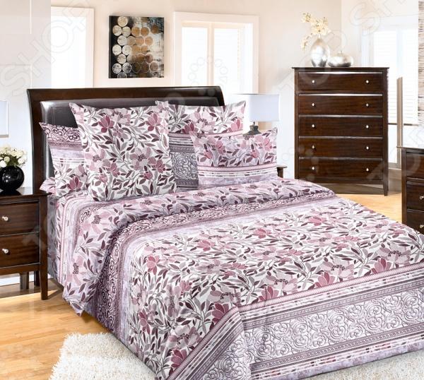 Комплект постельного белья Королевское Искушение «Констанция». 2-спальный2-спальные<br>Комплект постельного белья Королевское Искушение Констанция это сочетание прекрасного качества и стильного современного дизайна. Он внесет яркий акцент в интерьер вашей спальной комнаты, добавит ей элегантности и изысканности. В набор входят пододеяльники, простынь и две наволочки. Постельное белье выполнено из высококачественной перкали и украшено оригинальным цветочным принтом. Перкаль представляет собой хлопчатобумажную ткань полотняного переплетения. Она отлично зарекомендовала себя в пошиве постельного белья, благодаря своей воздухопроницаемости, легкости и устойчивости к истиранию. Ткани и готовые изделия производятся на современном импортном оборудовании и отвечают европейским стандартам качества. Рекомендуется стирать белье в деликатном режиме без использования агрессивных моющих средств.<br>