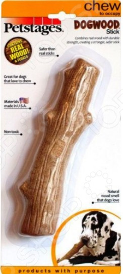 Игрушка для собак Petstages Dogwood «Палочка деревянная»Игрушки для собак<br>Игрушка для собак Petstages Dogwood Палочка деревянная это игрушка из дерева и синтетических материалов, очень прочная и легкая, а значит подойдет для разных собак. Игрушку можно использовать в качестве апортировочных предметов, чтобы не опасаться повредить что-либо при броске. Собаки любят трепать и грызть мягкую игрушку, ведь ее удобно носить в зубах. Игрушки такого типа подойдут даже для тех собак, которые не очень любят играть в перетягивания, но любят носить с собой какой-то предмет. Эта игрушка станет одной из самых любимых у вашего четвероногого друга.  Она провоцирует вашего питомца на активные игры, которые являются не только хорошей физической нагрузкой, но и развлечением пока вас нет дома.  Игрушка может разнообразить прогулку, развить природные инстинкты и стать важным элементом дрессировки хорошего поведения. Регулярно играйте со своей собакой и вы увидите, что ответом вам служит безграничная любовь и преданность!<br>
