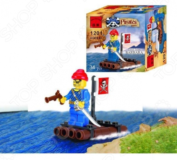 Конструктор игровой Brick 1201 «Пиратский плот» 1717074 игровой набор для ванны tomy пиратский корабль