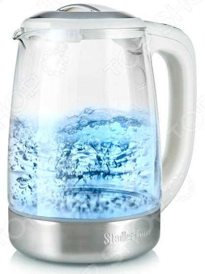 Чайник Stadler Form Kettle Two SFK.888Чайники электрические<br>Удобный и простой в использовании чайник Stadler Form Kettle Two SFK.888 изготовлен из высококачественного стекла Schott Duran Германия , что позволяет максимально сохранить полезные свойства и вкусовые качества воды. Благодаря максимальной мощности в 2400 Вт и нагревательному элементу скрытого типа, он быстро вскипятит воду объемом до 1,7 литров. На рынке бытовой техники этот прибор пользуется неизменной популярностью благодаря высокому качеству, безопасности и удобству в использовании. Stadler Form Kettle Two SFK.888 оснащен индикатором включения выключения, шкалой уровня воды и съемным стальным фильтром против накипи. Главной же особенностью модели является электронное управление с возможностью задавать необходимый температурный режим 50, 60, 70, 80, 90 С и поддерживать заданную температуру в течении 30 минут. Вся сопутствующая информация отображается на зеркальном LED-дисплее, который расположен на ручке. Большинство действий сопровождается звуковым сигналом. Цоколь с центральным контактом контактная группа Otter позволяет поворачивать прибор на 360 . Кабель удобно хранить в подставке. В целях безопасности имеются функции блокировки включения без воды и автоматического выключения при закипании. Благодаря стильному дизайну, чайник Stadler Form Kettle Two SFK.888 впишется в любую современную кухню.<br>