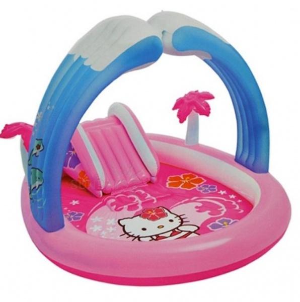 Бассейн с горкой надувной Intex с57137 Hello Kitty