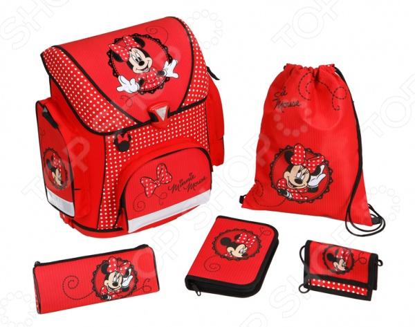 Рюкзак школьный с аксессуарами Undercover Minnie MouseРюкзаки. Сумки. Портфели<br>Рюкзак школьный с аксессуарами Undercover Minnie Mouse это отличный рюкзак для вашего ребенка, который подойдет для походов в школу. В основное отделение поместятся все учебники и тетради, а так же любые наборы карандашей, фломастеров и даже бутылочка воды. Лямки регулируются, изделие подойдет для детей любого роста. Кроме того, рюкзак оснащен широкими ремнями, что позволяет носить его весь день. Предмет декорирован ярким принтом, который точно понравится вашему ребенку. В комплекте:  школьный рюкзак,  пенал с наполнением,  пенал-косметичка,  детский кошелек,  сумка для сменной обуви.<br>