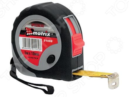 Рулетка MATRIX Continuous fixationРулетки. Мерные ленты<br>Рулетка MATRIX Continuous fixation измерительный инструмент из ударопрочного материала с удобным корпусом. Округлый корпус закрыт резиной, предохраняющей рулетку от повреждений. Полотно имеет можно фиксировать на определенной длине. Такая лента не будет рваться и ломаться, даже после долгих лет использования. Лента имеет полимерное покрытие, стойкое к абразивному воздействию. Цена деления 1 мм. Класс точности 2.<br>