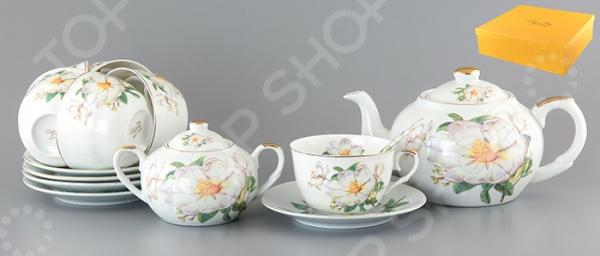 Чайный набор с чайником Elan Gallery «Белый шиповник»