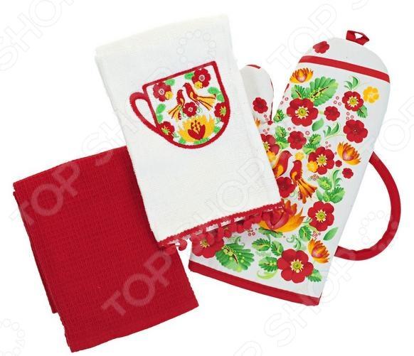 Комплект кухонный подарочный BONITA «Жар-птица» набор кухонный прихватка и рукавица мультидом светлая пасха z22 39 в ассортименте