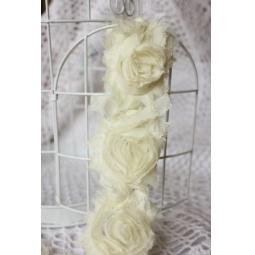 фото Лента с розами тканевыми ScrapBerry's. Цвет: молочный. Ширина: 7 см