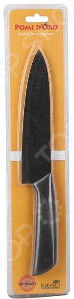 Нож керамический POMIDORO K1858Ножи<br>Нож керамический POMIDORO K1858 надежный и очень острый инструмент из керамики фирмы Kerano. Вы можете быть уверены, что материал лезвия не содержит вредных примесей, которые используются для аналогичных ножей из легированной стали. Главное преимущество керамики также в том, что она не вступает в химическую реакцию с продуктами в процессе резки. В результате вкус пищи остается неизменным, а лезвие не впитывает посторонние запахи. Керамические ножи прослужат очень долго без необходимости дополнительной заточки, если соблюдать несколько простых правил. Первым делом стоит подобрать правильную рабочую поверхность. К примеру, традиционная разделочная доска из дерева прекрасно подойдет для этих целей. Однако лучшим вариантом станет досточка из специального вспененного антибактериального пластика. Не стоит резать замороженные и твердые продукты. Назначение ножа поварской.<br>