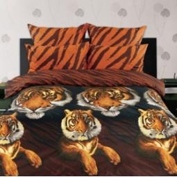 фото Комплект постельного белья Романтика «Бенгальский тигр». Евро