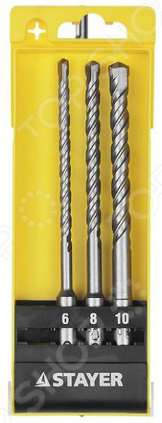 Набор буров по бетону Stayer Master 29250-H3Наборы буров<br>Набор буров по бетону Stayer Master 29250-H3 предназначен для сверления отверстий в бетоне, граните, кирпичной кладке, камне и твердых известняках при помощи легких и средних перфораторов. Твердосплавные резцы из стали ВК8 существенно повышают эффективность сверления и увеличивают износостойкость бура в процессе эксплуатации, а специальная четырехзаходная спираль S4 с усиленным сердечником ускоряет отвод продуктов сверления, снижая нагрев инструмента. В комплект вошли три бура диаметром 6, 8 и 10 мм.<br>