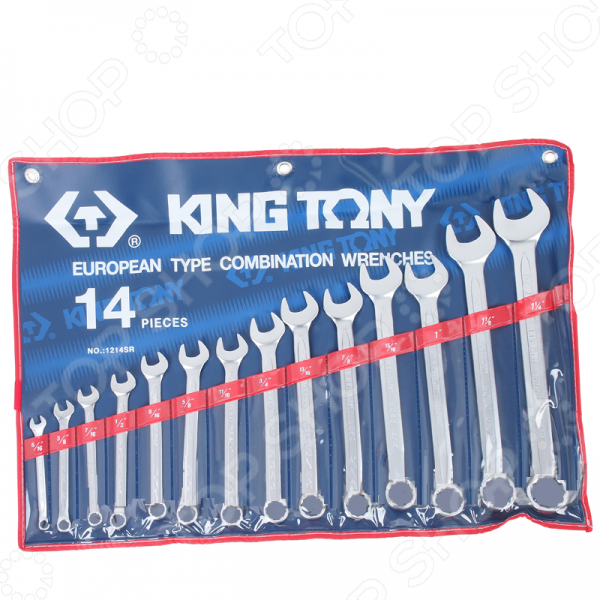 Набор ключей комбинированных King Tony KT-1214SRКомбинированные ключи<br>Набор ключей комбинированных King Tony KT-1214SR представляет собой набор ручных слесарных инструментов, используемых для завинчивания и отвинчивания крепежных деталей. Он незаменим для выполнения монтажных и демонтажных работ у вас дома, на даче, в гараже и т.д. В комплект входят 14 рожково-накидных ключей различного диаметра 5 16 , 3 8 , 7 16 , 1 2 , 9 16 , 5 8 , 11 16 , 3 4 , 13 16 , 7 8 , 15 16 , 1-1 8 , 1-1 4 . Изделия выполнены из высококачественных прочных материалов, практичны и долговечны в использовании. Инструменты упакованы в чехол для хранения и переноски.<br>