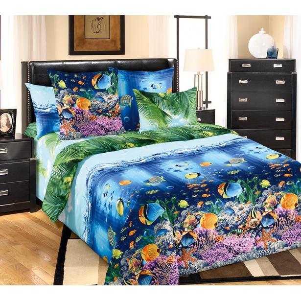 фото Комплект постельного белья Королевское Искушение «Подводный мир». Семейный