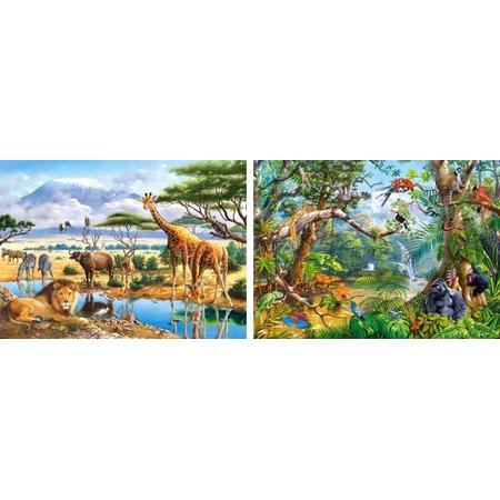 Купить Набор пазлов 2 в 1 Castorland «Саванна и джунгли»