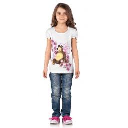 Купить Футболка для девочки «Маша и Медведь. А вот и малина!». Цвет: белый