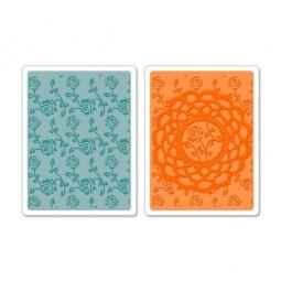 фото Набор форм для эмбоссирования Sizzix Textured Impressions Салфетка и розы