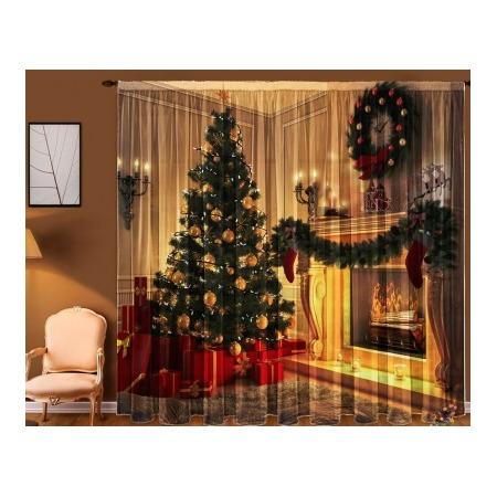 Тюль «Рождество у камина»