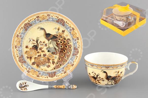 Чашка чайная с блюдцем и ложкой Elan Gallery «Павлин на бежевом» 180802 Elan Gallery - артикул: 534894