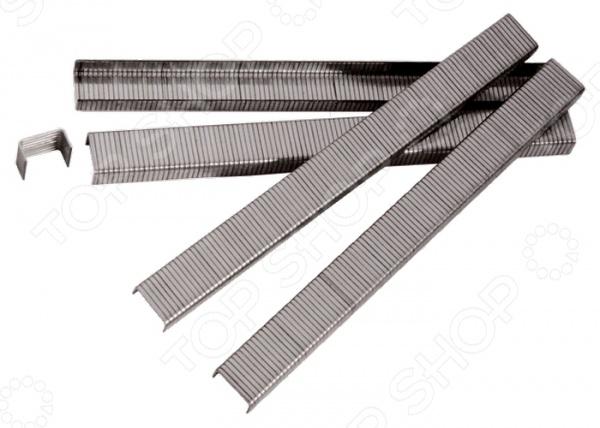 Набор скоб для пневматического степлера MATRIXРасходные материалы для степлера<br>Набор скоб для пневматического степлера MATRIX набор насадок, используемых для крепления материалов к различным поверхностям при помощи пневматического степлера. Скобы выполнены из высококачественной углеродистой стали и снабжены, защищающим от коррозии, никелированным покрытием.<br>