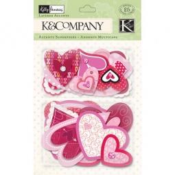 Купить Стикер-украшение K&Company «Розовые сердца»