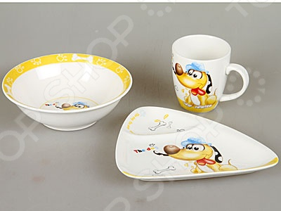 Набор посуды для детей Rosenberg 8777Посуда для детей<br>Набор посуды для детей Rosenberg 8777 это симпатичный комплект посуды, который приведет вашего ребенка в восторг! Расцветка универсальна и может понравиться как мальчику, так и девочке. Комплект посуды включает себя тарелку для супа, тарелку для второго и милую чашку с удобной ручкой для детской руки. Чашка рассчитана на 180 мл, вы сможете использовать ее как для чая, так и для молока или небольшой порции бульона. Не секрет, что дети очень любят свои собственные вещи, а что может быть лучше собственного комплекта посуды С этим набором ваш ребенок будет с удовольствием есть даже не любимые блюда.<br>