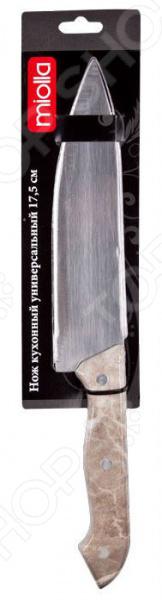 Нож Miolla универсальный «Мрамор»Ножи<br>Ни одна хозяйка не может обойтись без прочного, надежного и остро заточенного ножа. Его используют каждый день при приготовлении самых разнообразных блюд от шедевров высокой кухни до простых бутербродов. От того насколько с ним будет удобно работать будет зависеть, как быстро можно будет приготовить те или иные блюда.  Незаменимый помощник на каждой кухне. Нож Miolla универсальный Мрамор практичный нож-слайсер, который займет достойное место среди других кухонных принадлежностей. Лезвие длиной 20 см выполнено из прочной нержавеющей стали, которая гарантирует долговечность и прекрасные эксплуатационные характеристики изделия. Этот высококачественный материал также отличается:  экологичностью;  долговечностью;  устойчивостью к механическим повреждениям и появлению ржавчины и коррозии;  легкой заточкой;  простотой в уходе достаточно сполоснуть водой и вытереть насухо. Этот нож позволит без труда нарезать и нашинковать самые разнообразные продукты, например, мясо, овощи, фрукты, хлеб и даже сыр.  Легкая и сбалансированная ручка из прочного пластика обеспечит максимально комфортную работу. Эргономичная форма рукоятки не позволяет ей скользить в руках, что делает нарезку более безопасной. Другой особенностью ножа является простой и практичный дизайн, который по достоинству оценят те, кто любит минимализм в вещах. Нож можно мыть в посудомоечной машине.<br>