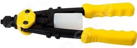 Заклепочник двуручный компактный Stayer RX700Заклепочники<br>Заклепочник двуручный компактный Stayer RX700 применяется для соединения заготовочных листов при помощи вытяжных стальных заклепок. Диаметр подходящих заклепок 2,4; 3,2; 4; 4,8 мм. Дополнительно изделие оснащено регулятором передачи усилий для работы с заклепками. Конструкция инструмента представлена прочным литым корпусом и двумя рычагами, за счет чего снижается утомляемость пользователя во время работы. Система захвата заклепки трехцанговая.<br>