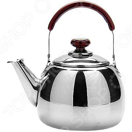 Чайник со свистком Super Kristal SK-2522Чайники со свистком и без свистка<br>Чайник со свистком Super Kristal SK-2522 - выполнен из долговечной и прочной стали, которая не окисляется и устойчива к коррозии. Объем чайника составляет 2 литра, оснащен свистком, благодаря которому вы можете не беспокоиться о том, что закипевшая вода зальет плиту. Как только вода закипит - свисток оповестит вас об этом. Капсулированное дно с прослойкой из алюминия обеспечивает наилучшее распределение тепла. Ручка чайника, а так же ручка крышки изготовлены из специального теплоустойчивого материала, который не обжигает руки. Удобный и практичный чайник отлично впишется в интерьер любой кухни. Можно мыть в посудомоечной машине.<br>