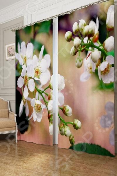 Фотошторы блэкаут Сирень «Цветущая черемуха»Фотошторы<br>Окно в комнате может считаться её символическим центром, поэтому так важно выбрать подходящее для него художественное оформление, которое бы гармонично вписывалось в выбранный вами стиль интерьера. Правильно подобранные шторы способны преобразить вашу комнату, сделать её более светлой или уединенной, яркой или более спокойной, визуально больше или уютней. Фотошторы блэкаут Сирень Цветущая черемуха это идеальный вариант для вашей спальни, гостиной или гостевой комнаты. Прочные, плотные и качественные изделия не только стильно оформят оконное пространство, но и позволят правильно расставить акценты в интерьере, скрыть небольшие недостатки в отделке. Особенность данной модели заключается в ярком и красочном рисунке, который поражает своей реалистичностью и четкостью. Он не выгорает на солнце и не выцветает при стирке. В комплект входят 2 шторы размером 145х260 см, поэтому они отлично подходят для большинства размеров окон. Фотошторы выполнены из прочного и очень плотного материала блэкаута. Это приятный на ощупь материал прост в уходе, так как легко выдерживает многочисленные стирки и глажки. Он практически светонепроницаем, поэтому вы сможете легко регулировать степень освещенности в комнате. За счет особого плетения нитей формирует мягкие складки без заломов. Другие положительные стороны этого материала:  легко драпируется;  прекрасно держит форму;  износостойкий;  устойчив к загрязнениям;  сохраняет тепло;  имеет высокие шумоизоляционные свойства. Изделия рекомендуется при температуре 30 С в режиме бережной стирки и гладить при 150 С в режиме шелк . Не следует использовать отбеливающие средства. Шторы крепятся на шторную ленту под крючки. Позвольте вашему интерьеру заиграть новыми красками и формами с фотошторами Сирень Цветущая черемуха !<br>